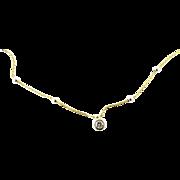 Vintage 18 Karat Two-tone Gold Necklace with Diamond Pendant