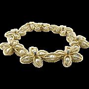 Vintage 14 Karat Yellow Gold Pearl and Sapphire Bracelet