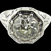 Edwardian 18K White Gold Filigree Ring Old European Diamond