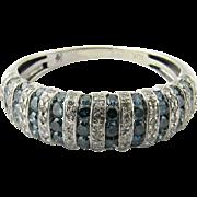 Vintage 10 Karat White Gold Color Treated Diamond Ring Size 7