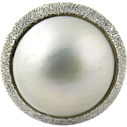 Vintage 18 Karat White Gold Mobe Pearl Ring Size 7