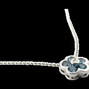 Vintage 18 Karat White Gold Blue Topaz and Diamond Flower Pendant Necklace