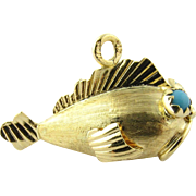 Vintage 18 Karat Yellow Gold and Turquoise Blowfish Charm