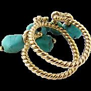 Vintage 18 Karat Yellow Gold Turquoise Ring Size 5.5