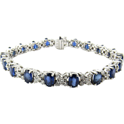 Vintage 18K White Gold Diamond and Sapphire XO Bracelet