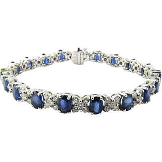 Vintage 18K White Gold Diamond and Sapphire XO Bracelet