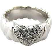 Vintage 14 Karat White Gold Diamond Heart Ring Size 7.75