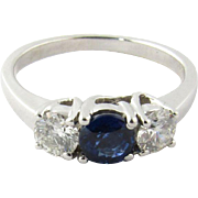 Vintage 18 Karat White Gold Sapphire and Diamond Ring Size 6