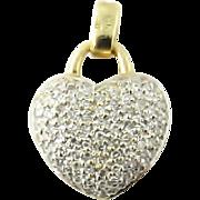 Vintage 14 Karat White and Yellow Gold Pave Diamond Heart Pendant