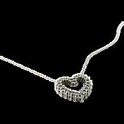 Vintage 18 Karat White Gold Diamond Heart Necklace