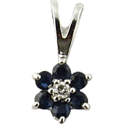 Vintage 14 Karat White Gold Sapphire and Diamond Pendant