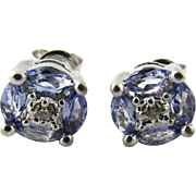 Vintage 14 Karat White Gold Tanzanite and Diamond Earrings