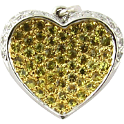 Vintage 14 Karat Yellow and White Gold Diamond Heart Pendant