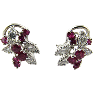 Vintage Platinum Ruby and Diamond Earrings