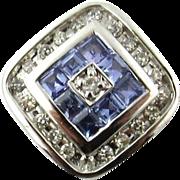 Vintage 14 Karat White Gold Tanzanite and Diamond Pendant