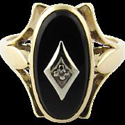 Vintage 14 Karat Yellow Gold Black Onyx and Diamond Ring Size 9