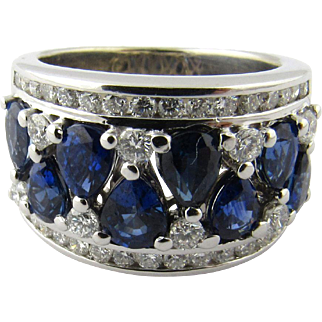 Vintage 14 Karat White Gold Sapphire and Diamond Ring Size 5.5