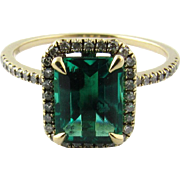 Vintage 14 Karat White Gold Synthetic Emerald and Diamond Ring Size 6.5