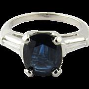 Vintage Platinum Sapphire and Diamond Ring Size: 4.75