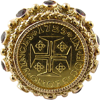 Vintage 19.2 Karat Yellow Gold Portuguese Coin RIng Size 6.5