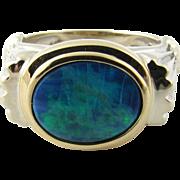 Vintage 14 Karat Yellow and White Gold Australian Opal Ring Size 4.75