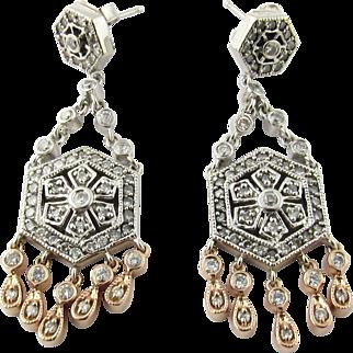 Vintage 14 Karat Rose and White Gold Diamond Chandelier Earrings