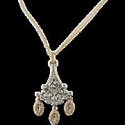 Vintage 14 Karat White and Rose Gold Diamond Pendant Necklace