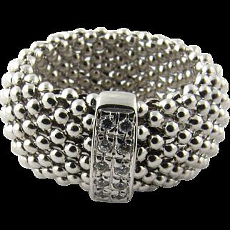 Vintage 14 Karat White Gold Mesh Ring Size 6