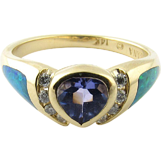 Vintage 14 Karat Yellow Gold Kabana Opal, Tanzanite and Diamond Ring Size 8.25