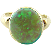 Vintage 14 Karat Yellow Gold Green Opal Ring Size 7