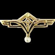 Vintage 14 Karat Yellow Gold Diamond and Pearl Brooch/Pin