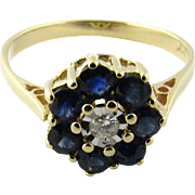 Vintage 14K Yellow Gold Sapphire and Diamond Ring, Size 6 3/4
