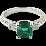 Vintage 18 Karat White Gold Emerald and Diamond RIng Size 6