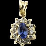 Vintage 14 Karat Yellow Gold Tanzanite and Diamond Pendant