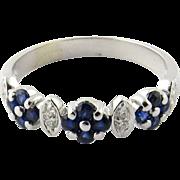 Vintage 14 Karat White Gold Sapphire and Diamond Ring Size 7