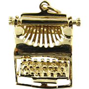 Vintage 14 Karat Yellow Gold Articulated Typewriter Charm