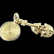 Vintage 14 Karat Yellow Gold Violin Charm