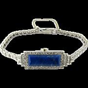 Platinum Blue Lapis and Diamond Bracelet