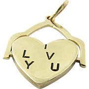 "Vintage 14 Karat Yellow Gold ""I LOVE YOU"" Heart Charm/Pendant"