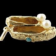 Vintage 14 Karat Yellow Gold Dancing Ballet Shoes Charm