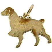Vintage 14 Karat Yellow Gold and Enamel Pointer Dog Charm