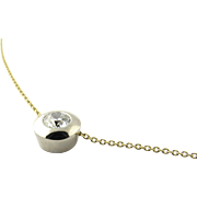 Vintage 14K Yellow and White Gold Bezel Set Solitaire European Cut Diamond Pendant .50cts
