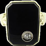 Vintage 14 Karat Yellow Gold Onyx and Diamond Ring Size 4
