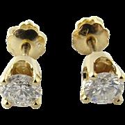 Vintage 14 Karat Yellow Gold Diamond Stud Earrings .54 ct.