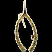 Vintage 10 Karat Yellow Gold and Enamel Wishbone Pin