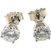 Vintage 14 Karat White Gold Diamond Stud Earrings .75 ct.