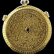Vintage 14 Karat Yellow Gold and Sapphire Mesh Change Purse