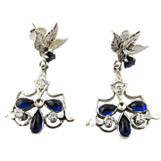 Vintage 14 Karat White Gold Sapphire and Diamond Earrings
