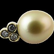 Vintage 14K Yellow Gold Diamond Pearl Pendant