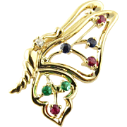 Vintage 14 Karat Yellow Gold Butterfly Pin